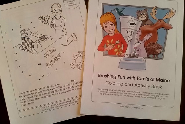 Tom's of Maine brushing fun coloring and activity book