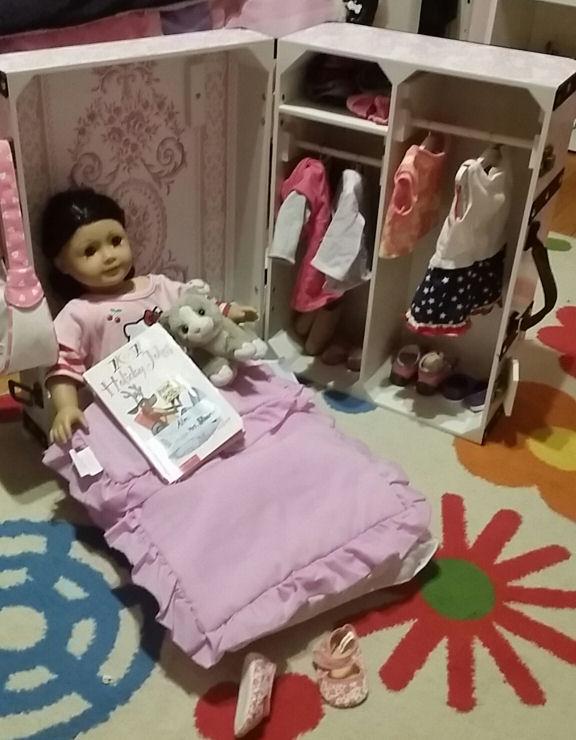 Doll Storage Trunk U0026 Bed Fits 18 Inch Dolls