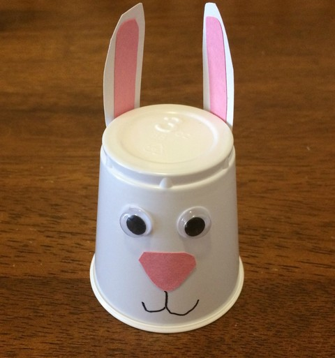 Plastic cup bunny