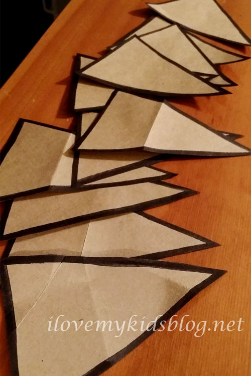 Cut out and outlined pieces for my upcycled paper banner