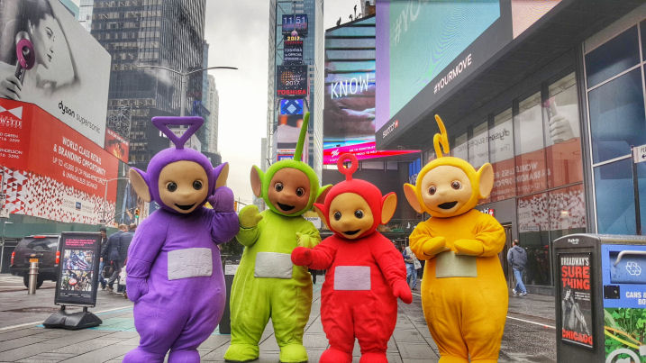 Teletubbies in new york city at times square