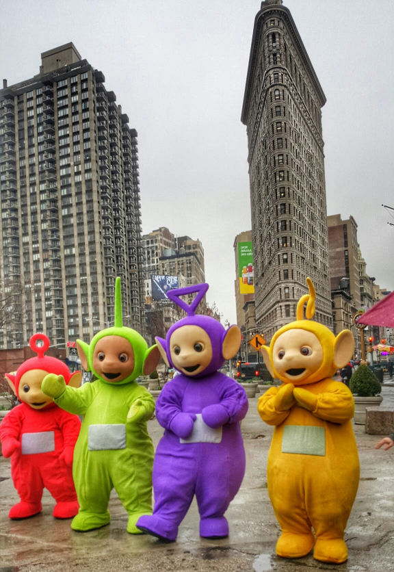 Teletubbies in new york city, flatiron building