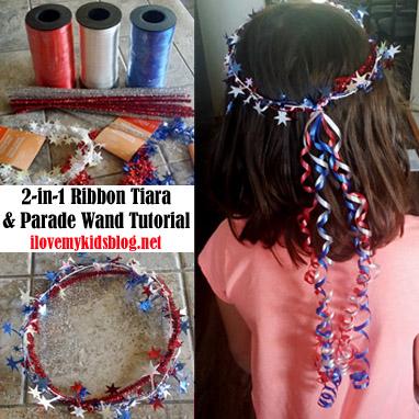 DIY 2-in-1 Ribbon Tiara and Parade Wand Tutorial