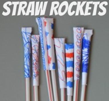 4th of July Craft Ideas-Straw Rockets