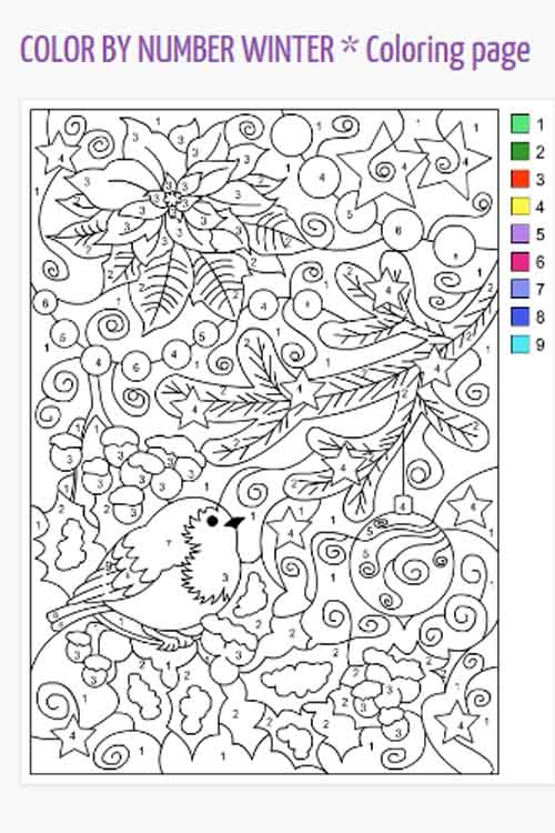 sample color by number picture available from Nicole's Free Coloring pages