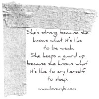 She's strong.