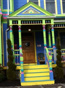 I Love Newton brightly colored Victorian house Newton MA Massachusetts