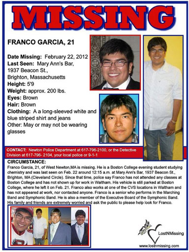 Franco Garcia, missing college student, missing Boston College student, Newton