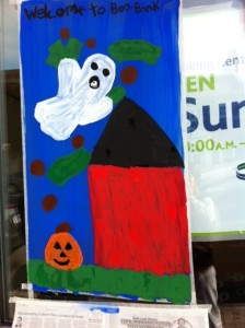 Newtonville Halloween window painting, Newton window painting, kids art
