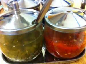 spicy condiments at Pho and Spice