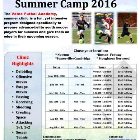 Valeo FC Summer Camp 2016 - Register Now!