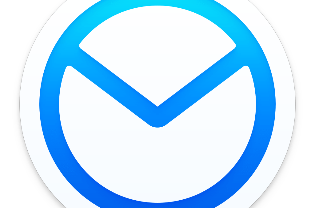 blue and white gradient circular logo of airmail app