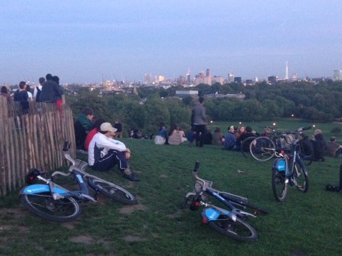 Boris Bikes reach the top.   © 2013 iLovePrimroseHill.com, all rights reserved.
