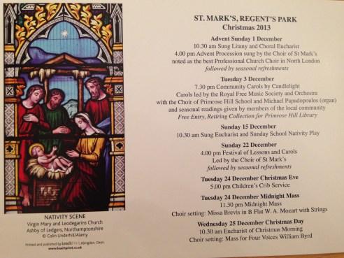 ST MARK'S CHURCH CHRISTMAS SERVICES.   © 2013 iLovePrimroseHill.com