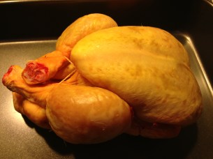 A corn-fed chicken erady for roasting - a tasty bird in the kitchen!