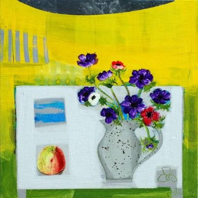 Daffodil Fields, acrylic on board, 46 x 46cm, Emma Dunbar, £1100