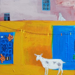 Do Goats like Almond Chocolate, acrylic on board, 46 x 46 cm, Emma Dunbar, £1100