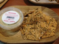 Buttermilk, chili, thyme and seasalt crackers had the perfect combination of slight flakiness and crunch, and were paired beautifully with a cumin-heavy hummous.