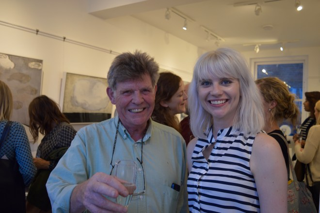 ARTIST ADRIAN HEMMING WITH BESIDE THE WAVE GALLERY MANAGER CLAIRE PEARCE