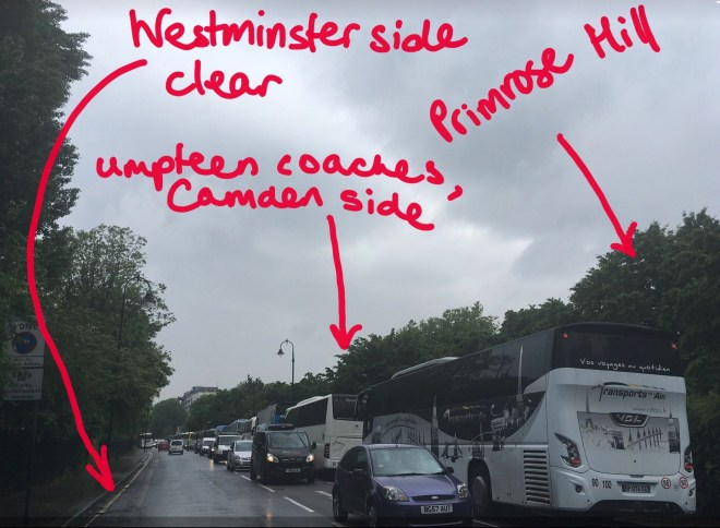 COACHES ON CAMDEN SIDE, POLLUTING PRIMROSE HILL