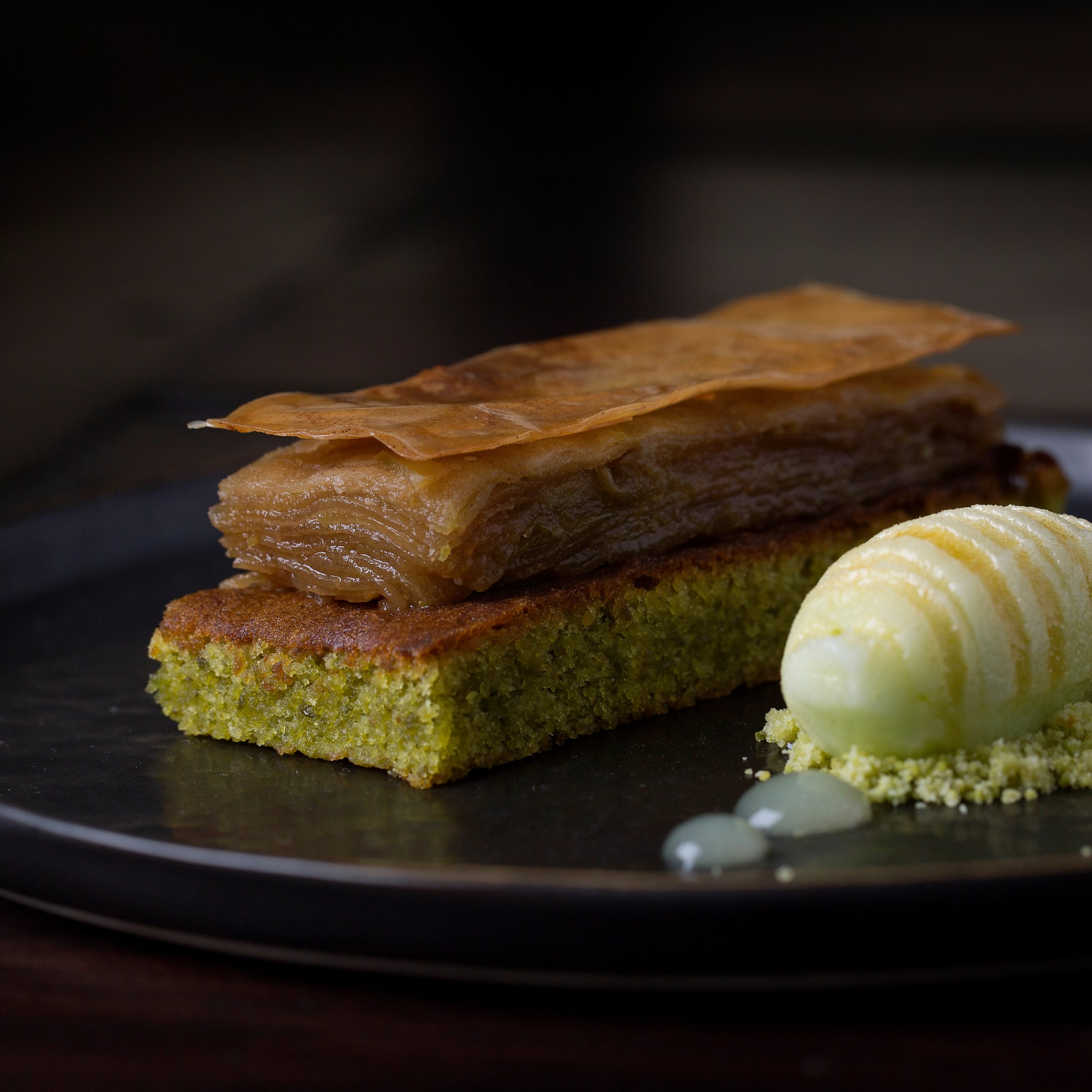 Pistachio cake, apple terrine, green apple sorbet £8 (2014-2015)