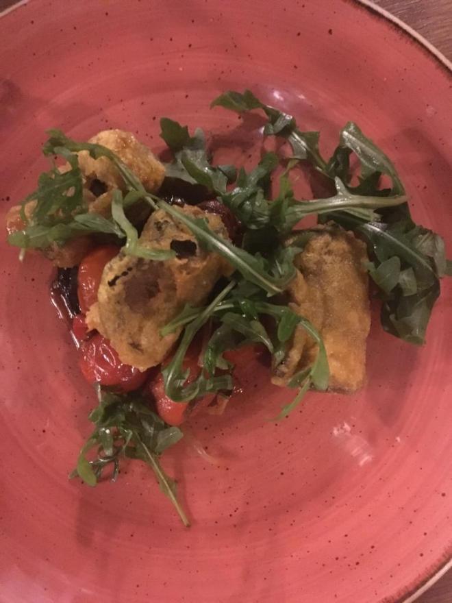 Aubergine, Pumpkin Seed Pesto & Mozzarella Rolls £7