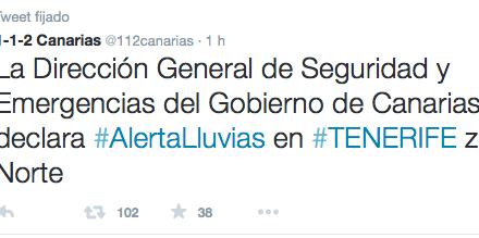 El Gobierno de Canarias activa la alerta por lluvias en el Norte de Tenerife