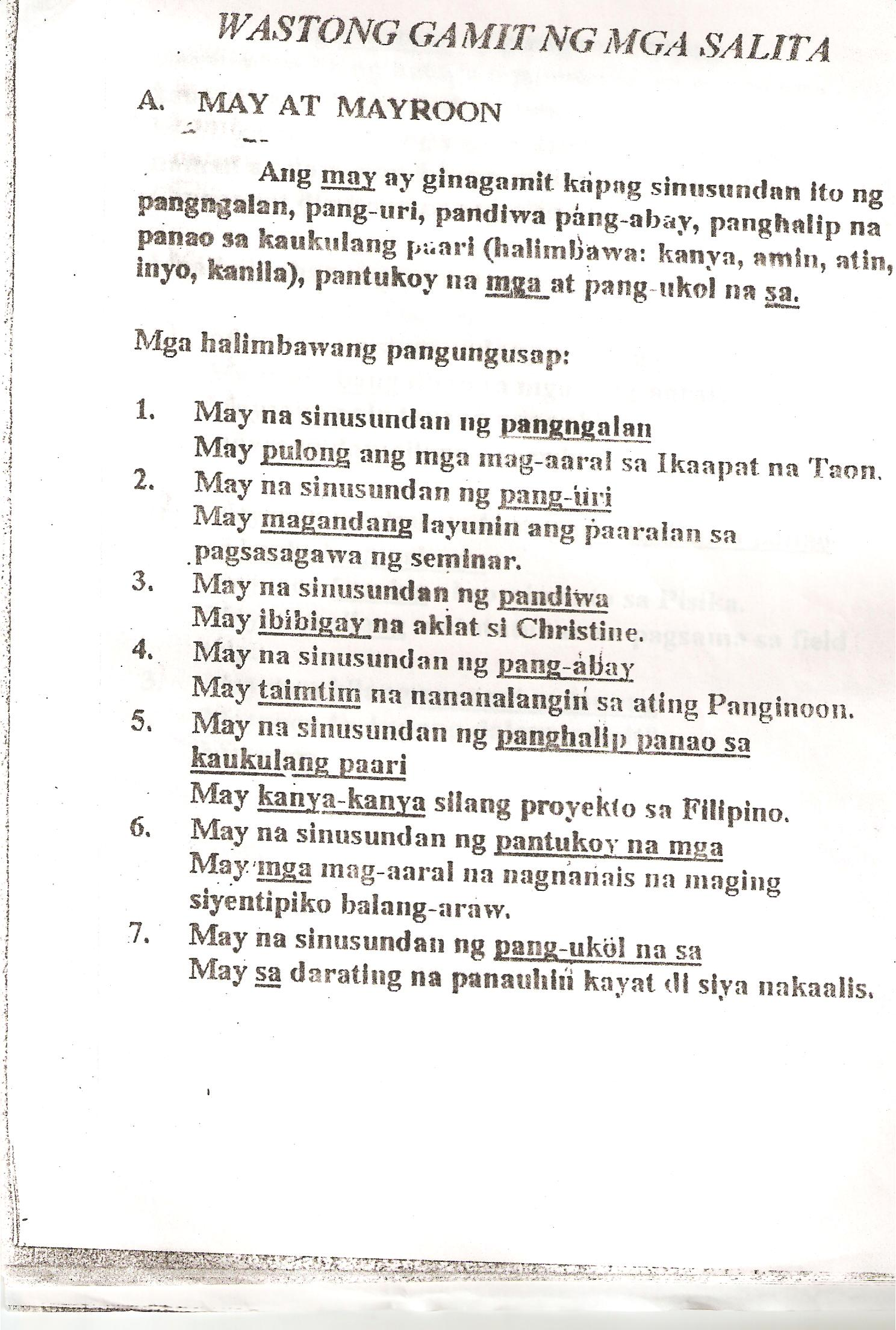 Worksheet Sa Gamit Ng Pangngalan