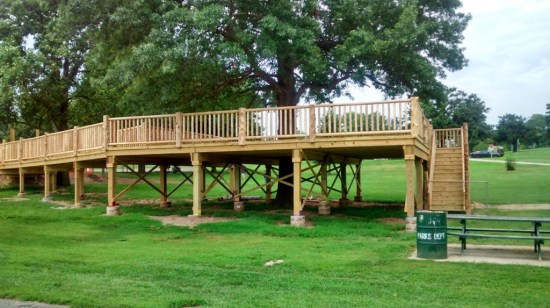 The treehouse going up at St. Joseph's Bartlett park.