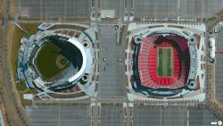 Aerial photo of the Truman Sports Complex – Kansas City Chiefs and Royals Stadiums