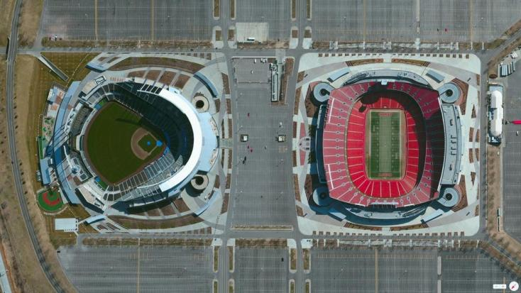 Aerial photo of the Truman Sports Complex - Kansas City Chiefs and Royals Stadiums