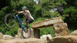 Fascinating bike ride thru and around the obstacles at Krug Park.
