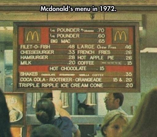 McDonalds Menu 1972