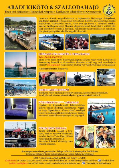 abádi kikötő és szállodahajó abádszalók