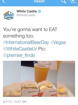 White Castle's Tweet with Kristin's PIcture!