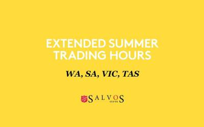 Salvos Stores Extended Summer Hours Trading