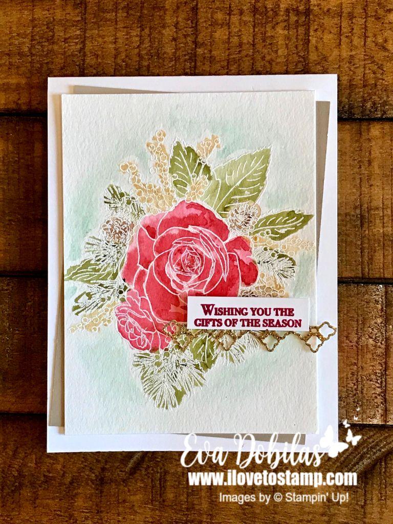 Watercolor Christmas Rose card