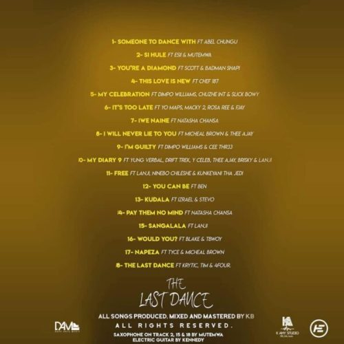KB THE LAST DANCE TRACKLIST