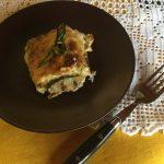 Lasagne al forno con zucchine grigliate e pancetta al pepe