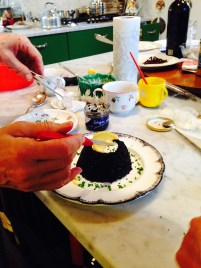Preparing the Cream Cheese and Caviar for photographing