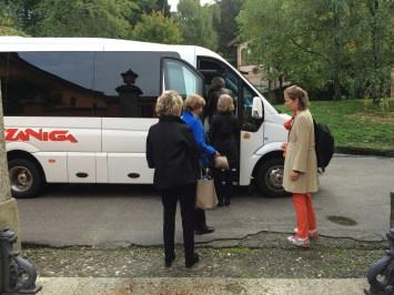 Boarding the bus at Poggio Verde Country Villa