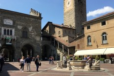 The main piazza, looking toward the covered stairs
