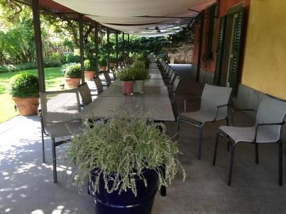Outdoor patio at Osteria della Brughiera