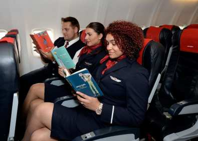 Norwegian crew reading their favourite Roald Dahl books - credit David Dyson