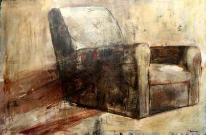 Teresa Santinelli, Pausa, olio su tela, cm 100x150