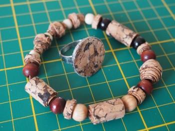 Kork-Armband und Ring