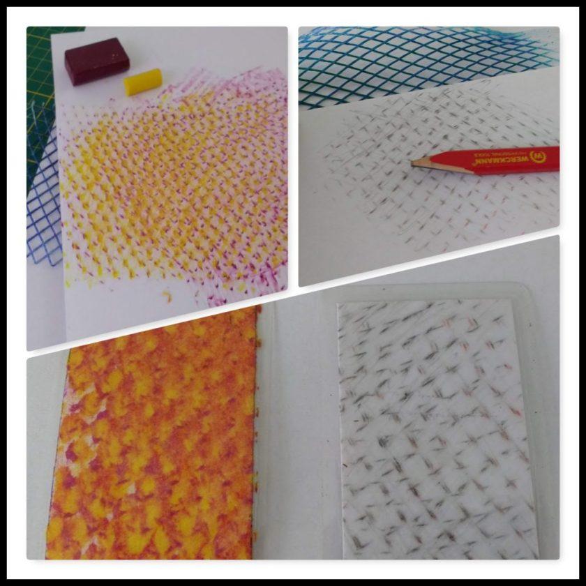 Taschenkunst - Frottage - Plastiknetz