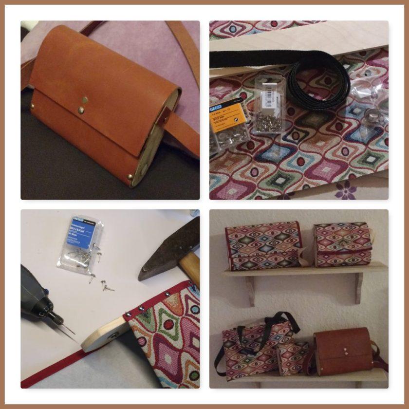 Tasche aus Holz und Leder/Gobelin