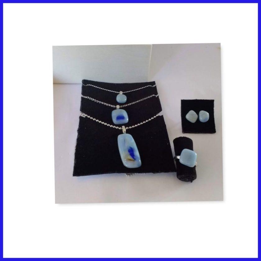 Blaues Tiffanyglas-Schmuckset