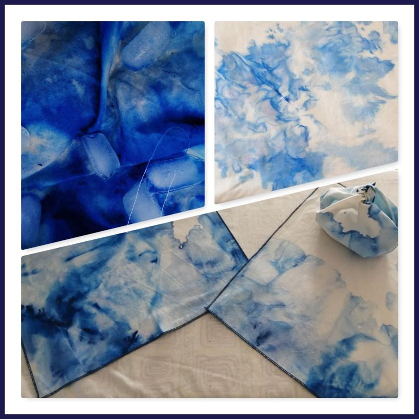 Seidenmalfarbe und Eiswürfel